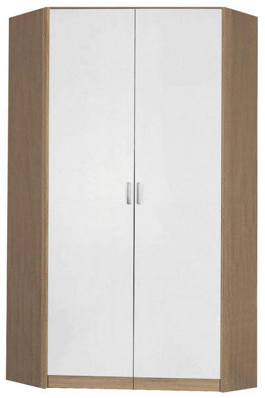 ECKSCHRANK Sonoma Eiche, Weiß - Silberfarben/Weiß, Design, Holzwerkstoff/Kunststoff (117/117/199/52,2cm) - Carryhome
