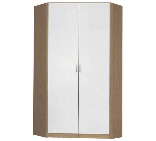 ECKSCHRANK Weiß, Sonoma Eiche - Silberfarben/Weiß, Design, Holzwerkstoff/Kunststoff (117/117/199/52,2cm) - Carryhome