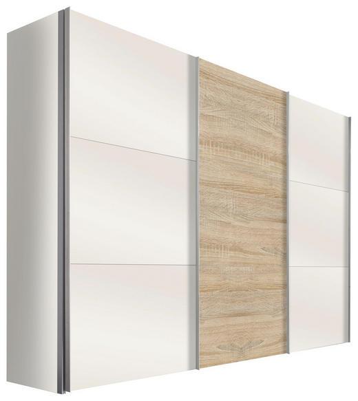 SCHWEBETÜRENSCHRANK in Eichefarben, Weiß - Eichefarben/Alufarben, Design, Glas/Holzwerkstoff (300/216/68cm) - Hom`in