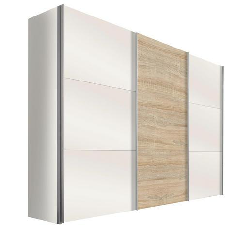 SCHWEBETÜRENSCHRANK in Weiß, Eichefarben  - Eichefarben/Alufarben, Design, Glas/Holzwerkstoff (300/216/68cm) - Hom`in