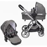 KINDERWAGENSET Neapel  - Silberfarben/Grau, Design, Textil/Metall (76,96/59,95/106,68cm) - My Baby Lou