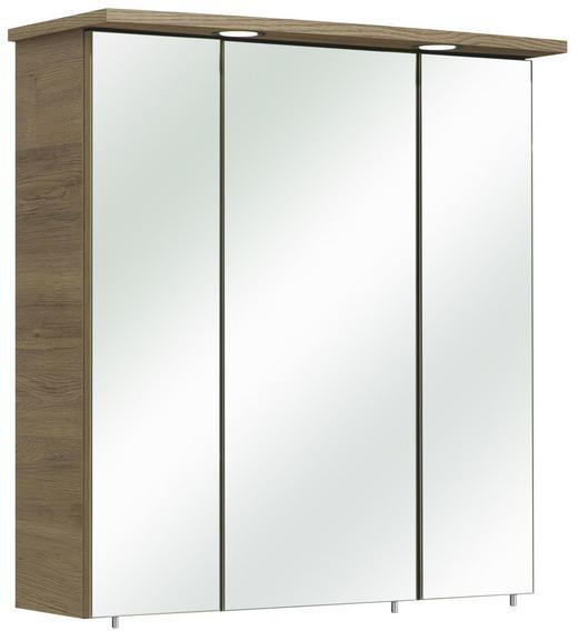 SPIEGELSCHRANK Eichefarben - Eichefarben/Silberfarben, Design, Glas/Holzwerkstoff (65/70/20cm) - Carryhome