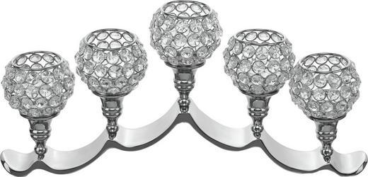TEELICHTHALTER - Silberfarben, Basics, Glas/Metall (46/19cm) - Ambia Home
