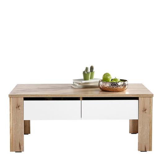 COUCHTISCH rechteckig Eichefarben, Weiß - Eichefarben/Weiß, Design (111/64,8/46,6cm) - Carryhome