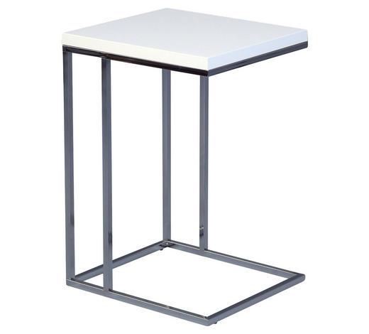 BEISTELLTISCH in Weiß, Chromfarben - Chromfarben/Weiß, Design, Holzwerkstoff/Metall (38/62,5/43cm)