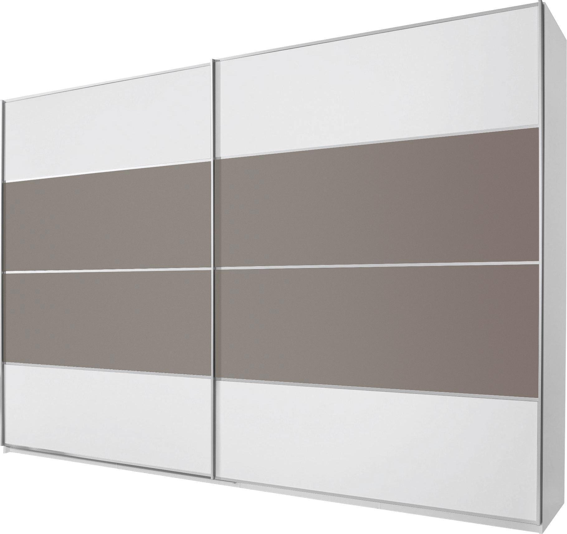 SCHWEBETÜRENSCHRANK 2  -türig Braun, Grau, Weiß - Alufarben/Braun, Design, Glas/Holzwerkstoff (359/223/69cm) - CANTUS