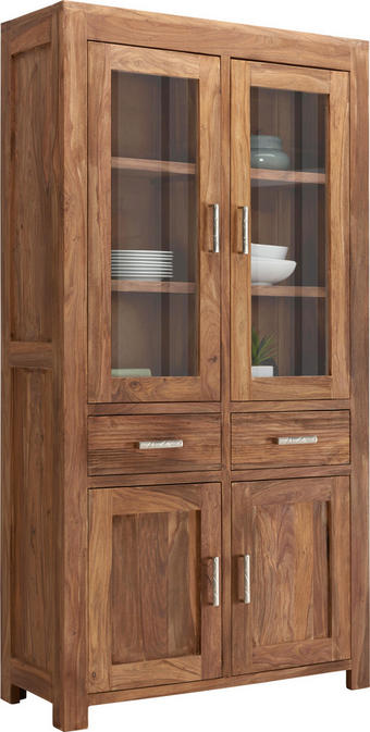 VITRÍNA - barvy stříbra/barvy sheesham, Lifestyle, kov/dřevo (100/191/40cm) - LANDSCAPE