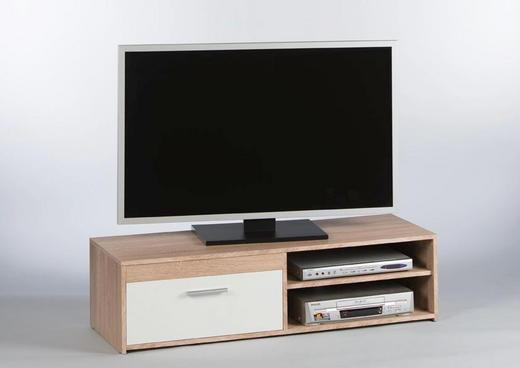 TV-ELEMENT Eichefarben, Weiß - Eichefarben/Alufarben, KONVENTIONELL, Holzwerkstoff/Kunststoff (120/32/38cm) - Carryhome