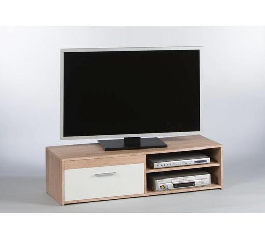 TV-ELEMENT Weiß, Eichefarben - Eichefarben/Alufarben, KONVENTIONELL, Holzwerkstoff/Kunststoff (120/32/38cm) - Carryhome