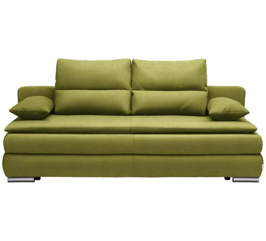 SCHLAFSOFA in Textil Grün  - Silberfarben/Grün, KONVENTIONELL, Kunststoff/Textil (207/94/90cm) - Venda