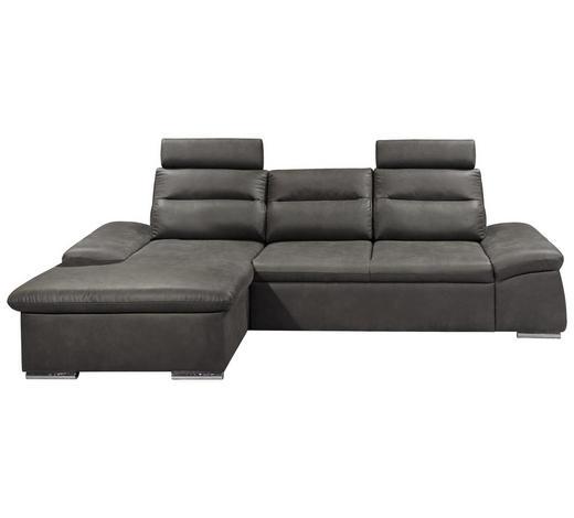 WOHNLANDSCHAFT in Textil, Holzwerkstoff Grau - Silberfarben/Grau, KONVENTIONELL, Holzwerkstoff/Kunststoff (170/268cm) - Carryhome