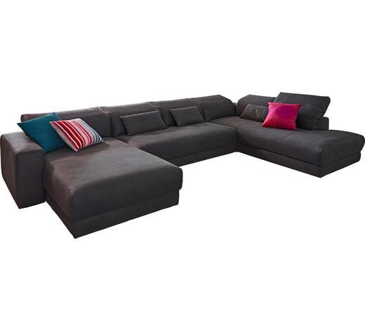 WOHNLANDSCHAFT Dunkelgrau Mikrofaser - Dunkelgrau, Design, Textil (195/399/237cm) - Pure Home Lifestyle