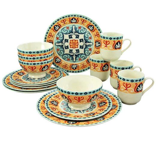 Steingut  KOMBISERVICE 16-teilig   - Blau/Orange, Basics, Keramik (30/29/30cm) - Creatable