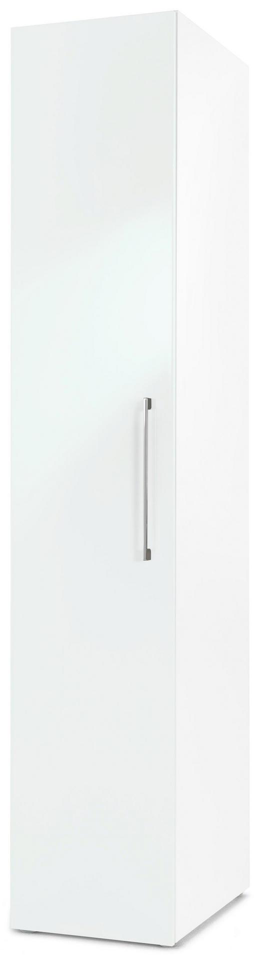 DREHTÜRENSCHRANK 1  -türig Weiß - Chromfarben/Weiß, Design, Holzwerkstoff/Metall (40/208/57cm) - CARRYHOME