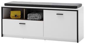 GARDEROBENBANK Weiß  - Anthrazit/Weiß, Design, Metall (135/54/38cm) - Voleo