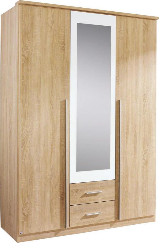 DREHTÜRENSCHRANK 3  -türig Eichefarben, Weiß - Eichefarben/Alufarben, Design, Glas/Holzwerkstoff (136/199/56cm) - CARRYHOME