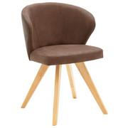 ŽIDLE, dřevo, textil, hnědá, - barvy dubu/hnědá, Design, dřevo/textil (53/78/57cm) - Voleo