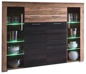 HIGHBOARD 160/137/40 cm  - Dunkelbraun/Nussbaumfarben, Design, Glas/Holzwerkstoff (160/137/40cm) - Carryhome