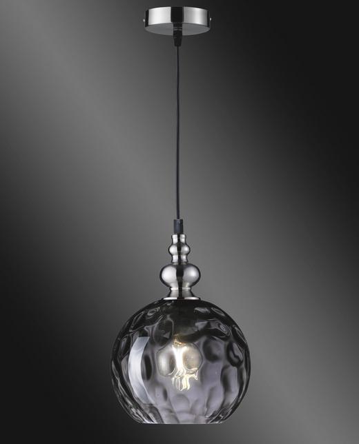 HÄNGELEUCHTE - Schwarz/Nickelfarben, Trend, Glas/Metall (20/140cm)