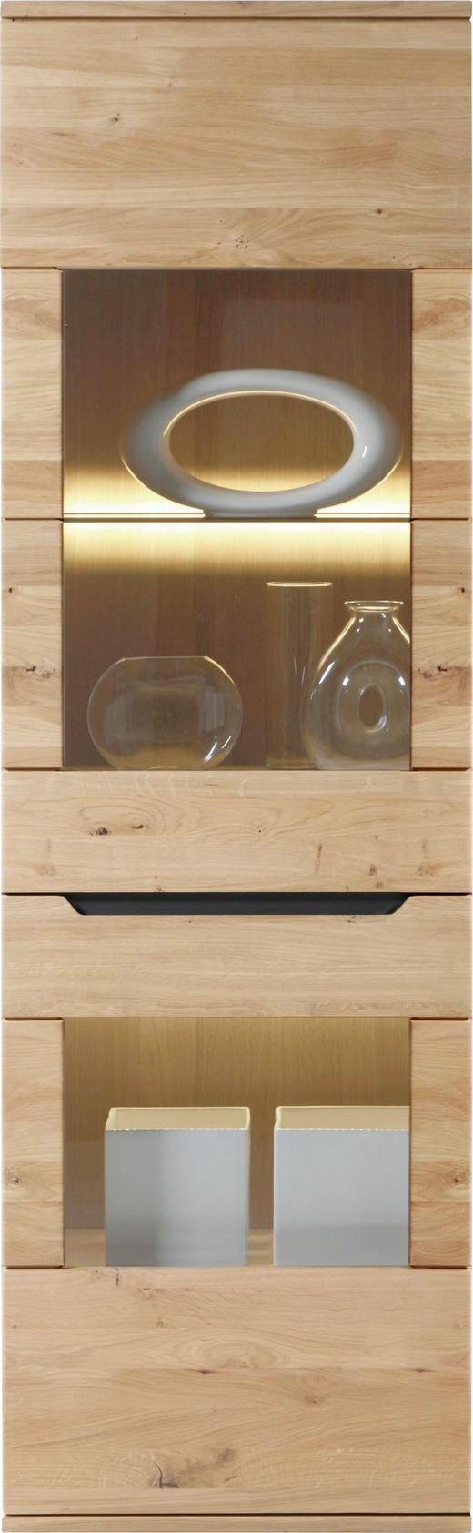 VITRINE Wildeiche massiv Eichefarben - Eichefarben, Design, Glas/Holz (60/198,4/39,4cm) - Linea Natura