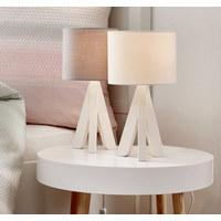 LAMPA STOLNÍ - šedá, Lifestyle, dřevo/textilie (17/31cm) - Boxxx