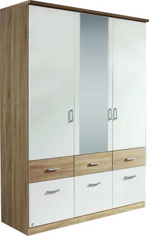 GARDEROB - vit/Sonoma ek, Klassisk, glas/träbaserade material (136/199/56cm) - Boxxx