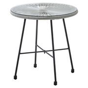 GARTENBEISTELLTISCH Metall, Kunststoff, Glas - Hellgrau/Schwarz, Design, Glas/Kunststoff (50/53cm) - Ambia Garden