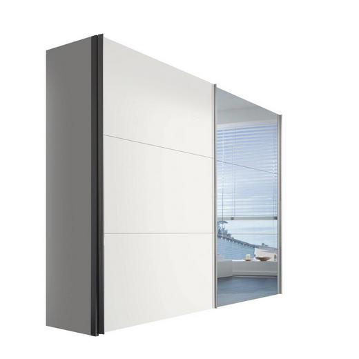 SCHWEBETÜRENSCHRANK 2-türig Weiß - Alufarben/Weiß, KONVENTIONELL, Glas/Holzwerkstoff (250/216/68cm) - Hom`in
