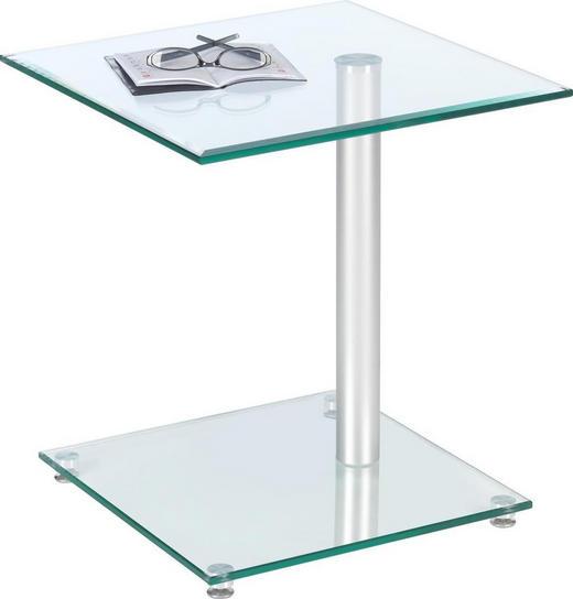 BEISTELLTISCH quadratisch Alufarben, Klar - Klar/Alufarben, Design, Glas/Metall (45/50/45cm)