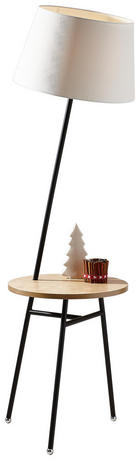 STEHLEUCHTE - Schwarz/Weiß, Design, Holz/Textil (45/158cm) - Dieter Knoll
