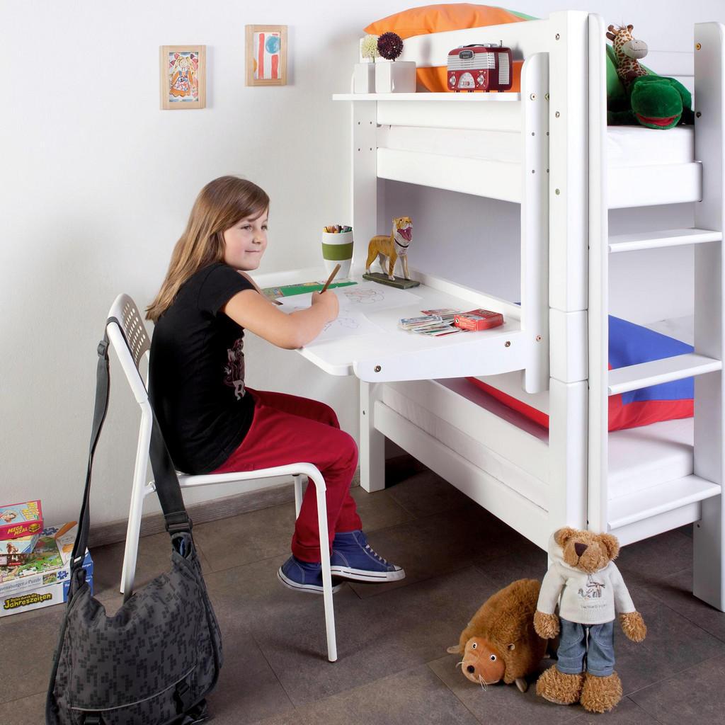 Schreibtisch 'Pluto' für Kinder aus weiß lackiertem Buchenholz