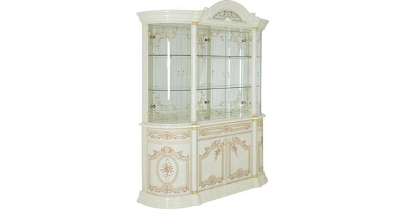 VITRINE in Beige - Beige/Goldfarben, LIFESTYLE, Glas/Holzwerkstoff (189/228/56cm) - Cantus