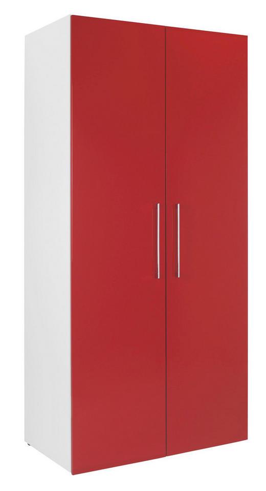 KLEIDERSCHRANK in Rot, Weiß - Chromfarben/Rot, KONVENTIONELL, Holzwerkstoff/Metall (100/208/57cm) - Welnova