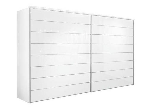 SCHWEBETÜRENSCHRANK 2  -türig Weiß - Alufarben/Weiß, Design, Glas/Holzwerkstoff (331/222/68cm) - MODERANO