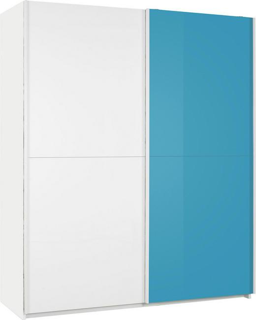 SCHWEBETÜRENSCHRANK 2-türig Türkis, Weiß - Türkis/Weiß, Design, Holzwerkstoff/Metall (179/210/57cm) - Xora