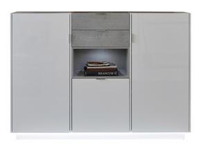 HIGHBOARD - vit/kromfärg, Design, metall/träbaserade material (170/120/40cm)