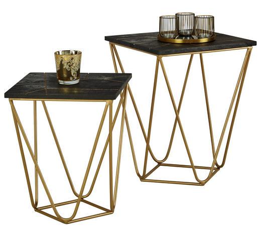 BEISTELLTISCHSET Akazie massiv quadratisch Schwarz  - Goldfarben/Schwarz, Trend, Holz/Metall (40/40/50cm) - Ambia Home