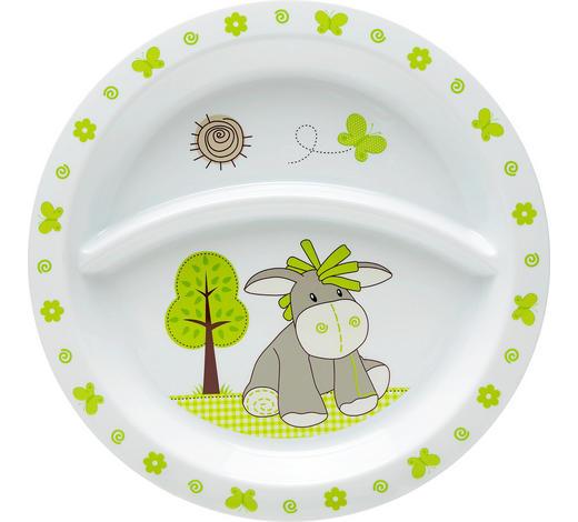 DĚTSKÝ TALÍŘ - bílá/zelená, Trend, umělá hmota (21,5/1,8cm) - My Baby Lou