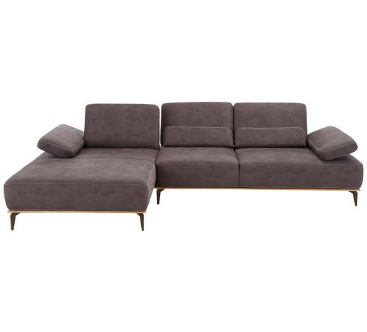 WOHNLANDSCHAFT Braun Mikrofaser  - Beige/Braun, Design, Textil/Metall (178/298cm) - Valnatura