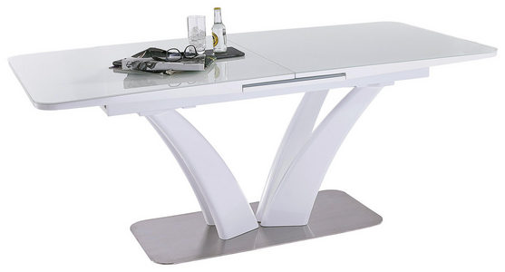 MATBORD - vit/rostfritt stål-färgad, Design, metall/glas (180(220)/90/76cm) - Novel