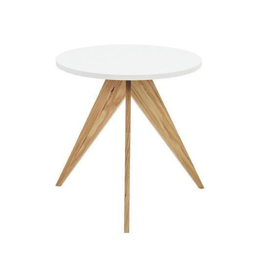 BEISTELLTISCH massiv rund Eichefarben, Weiß - Eichefarben/Weiß, Design, Holzwerkstoff (55/56,6cm) - Hülsta - Now