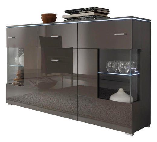 sideboard hochglanz melaminharzbeschichtet grau online kaufen xxxlutz. Black Bedroom Furniture Sets. Home Design Ideas