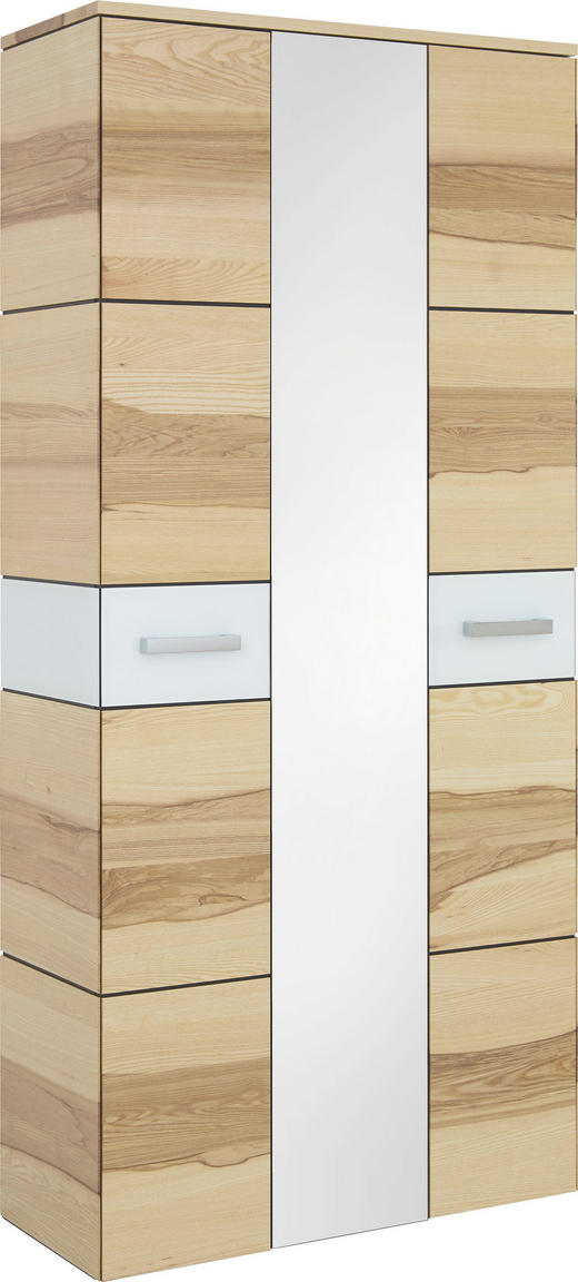 GARDEROBENSCHRANK Kernesche furniert, teilmassiv Weiß, Eschefarben - Eschefarben/Silberfarben, Design, Glas/Holz (90/196/37cm) - Cassando