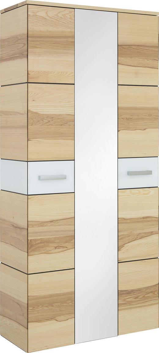 GARDEROBENSCHRANK Kernesche furniert Eschefarben, Weiß - Eschefarben/Weiß, Design, Glas/Holz (90/196/37cm) - Cassando