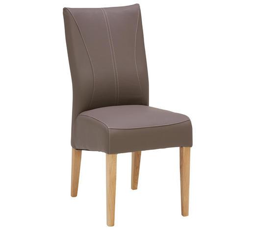 Stuhl in Holz, Textil Taupe  - Taupe/Eichefarben, Konventionell, Holz/Textil (44/98/64cm) - Venda