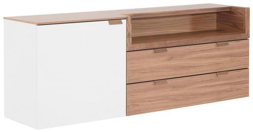 KOMMODE 160/58,8/40 cm - Nussbaumfarben/Weiß, Design, Holz/Holzwerkstoff (160/58,8/40cm) - Hülsta