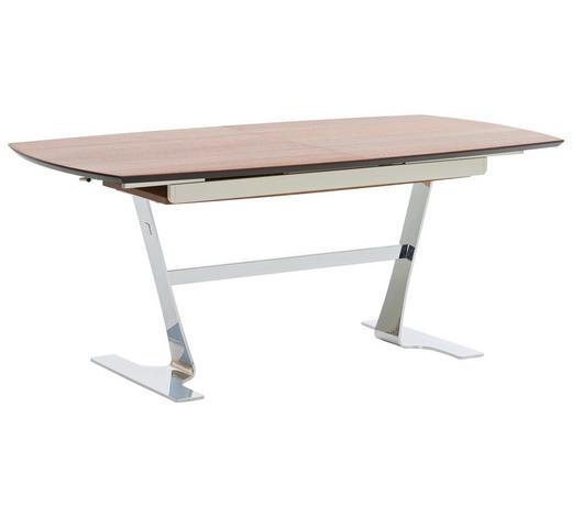 ESSTISCH in Holz, Metall, Holzwerkstoff 180(230)/95/77 cm - Chromfarben/Nussbaumfarben, Design, Holz/Holzwerkstoff (180(230)/95/77cm) - Joop!