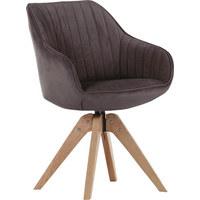 STUHL Velours Braun - Eichefarben/Braun, Design, Holz/Textil (60/83/65cm) - Hom`in