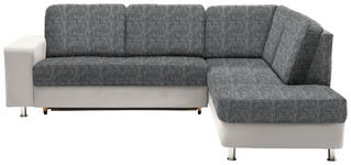 WOHNLANDSCHAFT in Grau, Weiß Textil - Chromfarben/Weiß, KONVENTIONELL, Kunststoff/Textil (253/198cm) - Xora