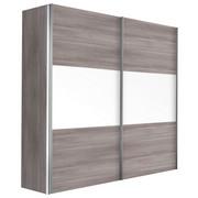 SCHWEBETÜRENSCHRANK in Eichefarben - Eichefarben/Alufarben, Design, Glas/Holzwerkstoff (150/216/68cm) - Hom`in